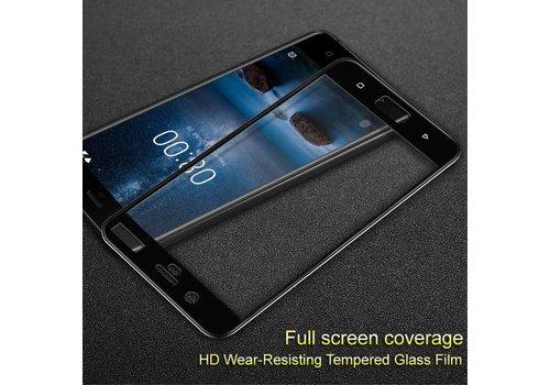 Nokia 8 - Volledige dekkende Krasbestendige Glazen Screenprotector - Zwart