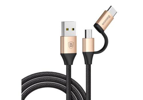 BASEUS - 2-in-1 USB-C en Micro USB OplaadKabel 1m - Goud