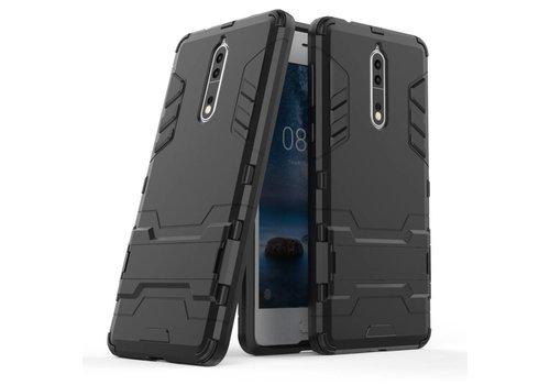 Nokia 8 - Stevig Backcover Hybride Beschermhoesje met Stand - Zwart Default