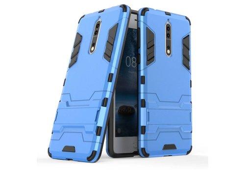 Nokia 8 - Stevig Backcover Hybride Beschermhoesje met Stand - Licht Blauw