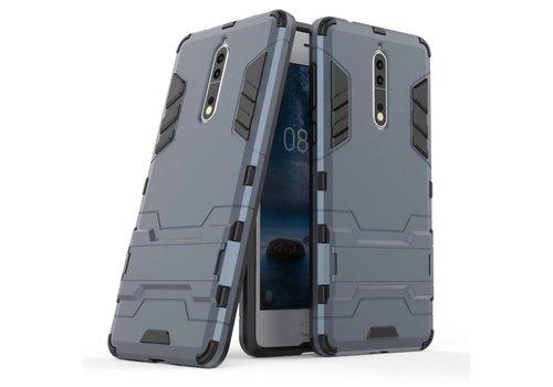 Nokia 8 - Stevig Backcover Hybride Beschermhoesje met Stand - Donker Blauw