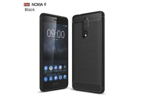 Nokia 8 - Geborsteld Hard Back Cover Carbon Fiber Design - Zwart