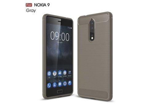 Nokia 8 - Geborsteld Hard Back Cover Carbon Fiber Design - Grijs