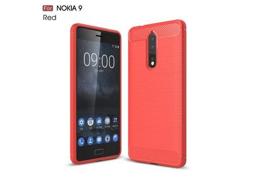 Nokia 8 - Geborsteld Hard Back Cover Carbon Fiber Design - Rood