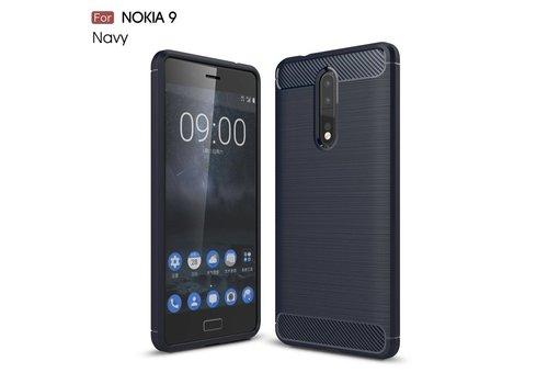 Nokia 8 - Geborsteld Hard Back Cover Carbon Fiber Design - Donker Blauw Default