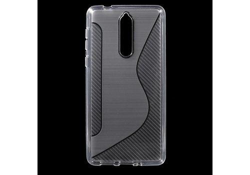 Nokia 8 - S-Line Flexibel TPU Hoesje Back Case - Wit