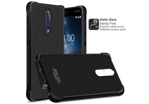 Nokia 8 - Shockproof TPU Back Case met Screenprotector - Mat Zwart