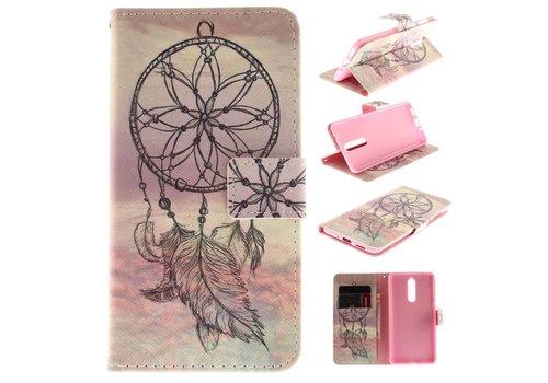 Nokia 8 - PU lederen Portemonnee Case met Kaarthouder - DreamCatchers Design - Rose