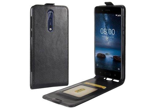 Nokia 8 - PU lederen Flip Hoesje Case met Kaarthouder en Fotohouder - Zwart