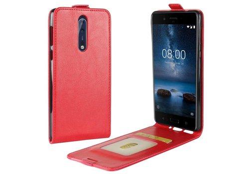 Nokia 8 - PU lederen Flip Hoesje Case met Kaarthouder en Fotohouder - Rood