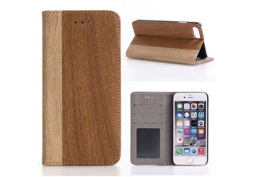 Apple iPhone 7 / 8 - Hout Design PU lederen Portemonnee Cover Case - Bruin