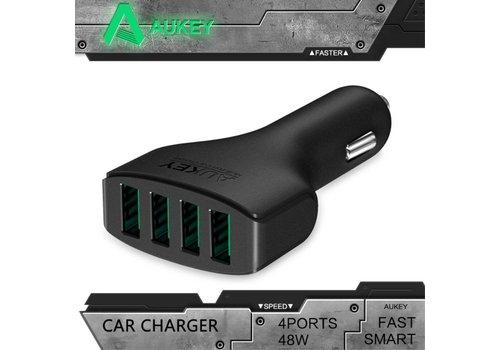 Aukey - Autolader met 4 USB Poorten - Zwart