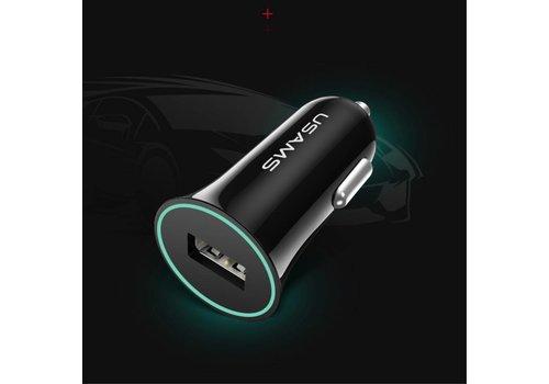 Usams - Autolader met USB Ingang - Zwart