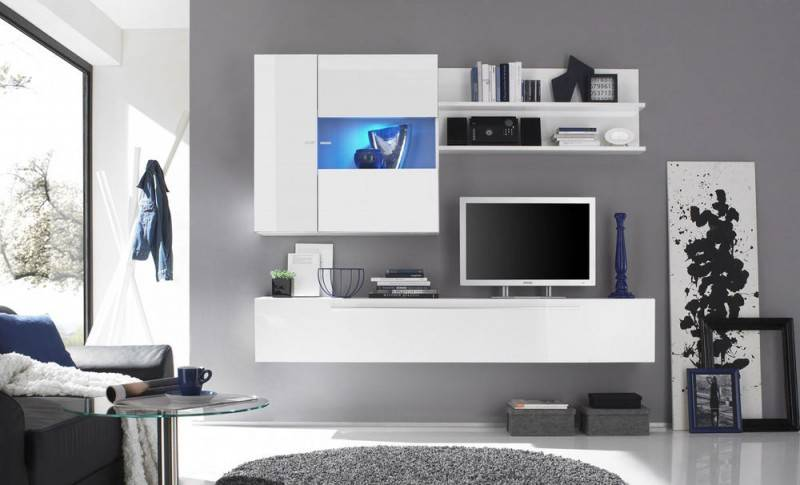 Benvenuto Design Mauro TV Wandmeubel HG Wit+Spot