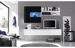 Mara TV Wandmeubel HG Wit/Zwart+LED