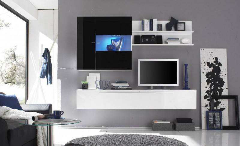 Benvenuto Design Mauro TV Wandmeubel HG Wit/Zwart+Spot
