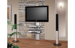 Orion TV wandmeubel Zilver/Transparant Glas