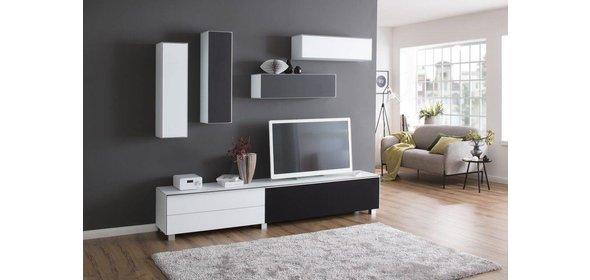 Maja Moebel Fresh en Stick TV Wandmeubel Wit/Zwart
