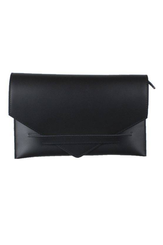 LEATHER ENVELOPPE CLUTCH BLACK