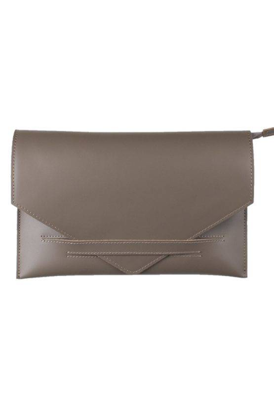 LEATHER ENVELOPPE CLUTCH TAUPE