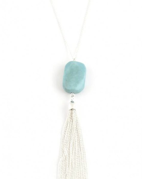 MARBLE TASSEL NECKLACE – SILVER