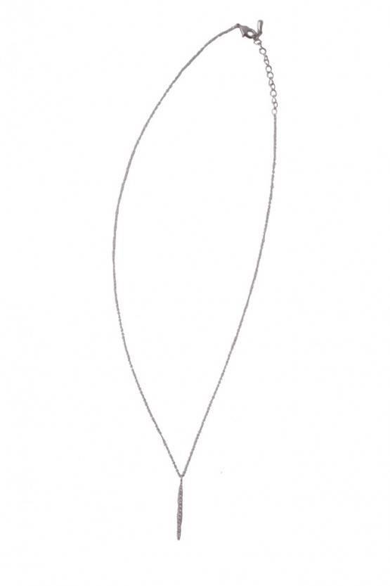 UPRIGHT DIAMOND BAR NECKLACE – SILVER
