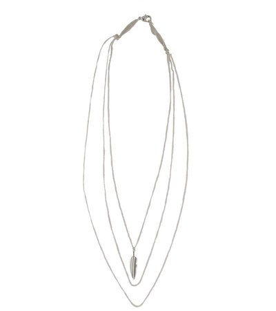 THREE-PIECE LAYERED FEATHER NECKLACE – SILVER