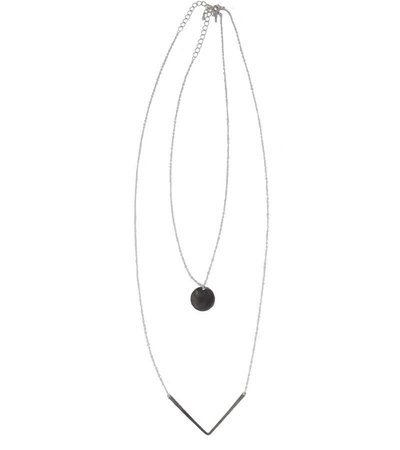 TRIANGLE COIN COMBO LAYERED NECKLACE – SILVER