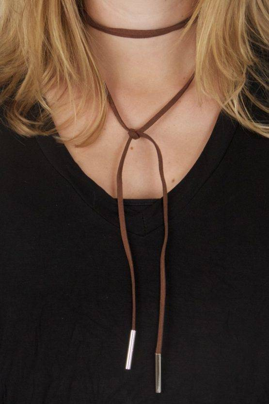 BROWN SUEDE WRAP CHOKER