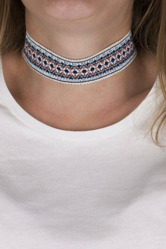 AZTEC BIG BOLD ORANGE-CYAN-WHITE CHOKER