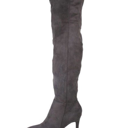 GREY HIGH KNEE FAUX SUEDE BOOT