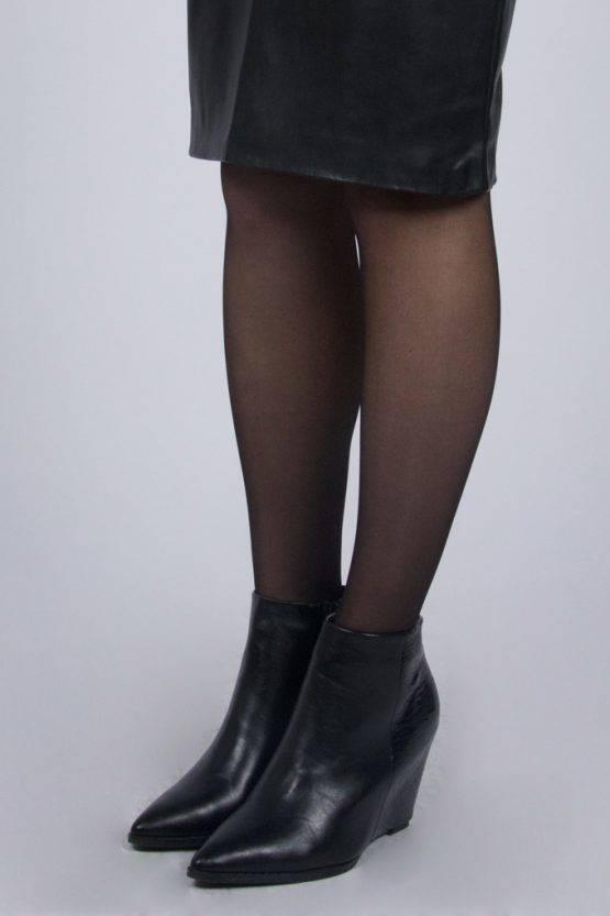 CROCO BLACK WEDGE HEEL
