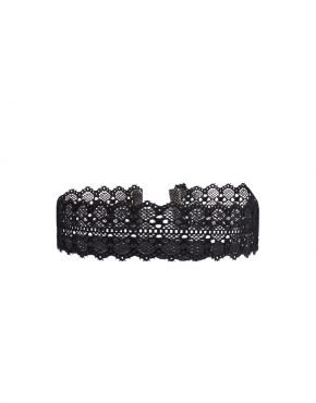 BLACK BIG DAISY CHOKER
