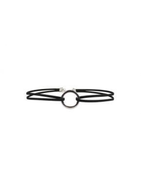 BLACK DOUBLE CHAINED SILVER CIRCLE CHOKER