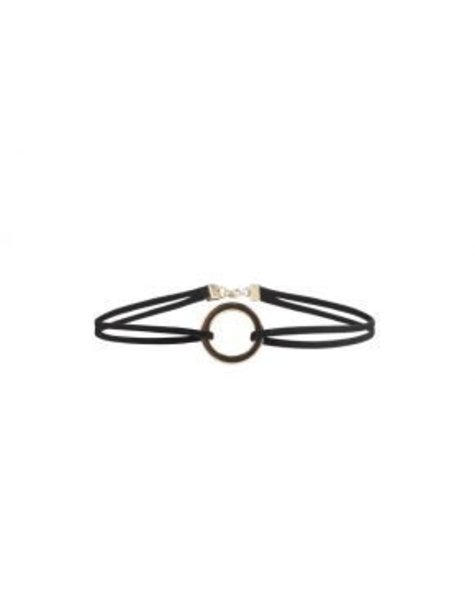 BLACK DOUBLE CHAINED GOLDEN CIRCLE CHOKER