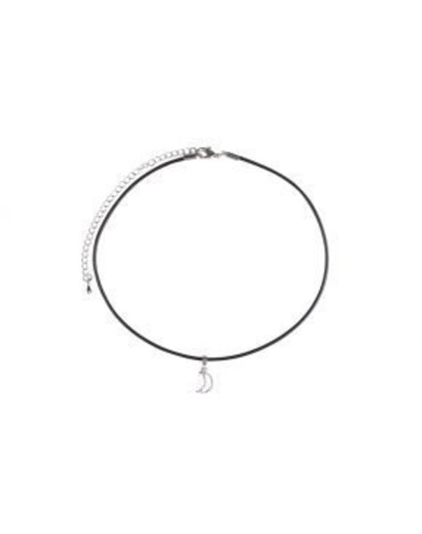 BLACK LEATHER SILVER MOON CHOKER