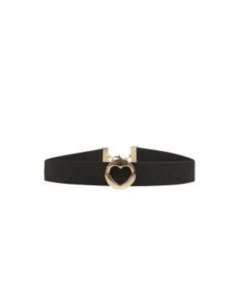 BLACK SUEDE GOLD ROUND HEART CHOKER