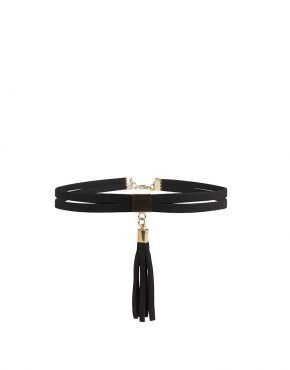 BLACK SUEDE DOUBLE CHAINED TASSEL CHOKER