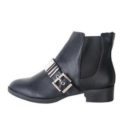 BLACK ANKLE BOOT STRAP BIKER DETAIL