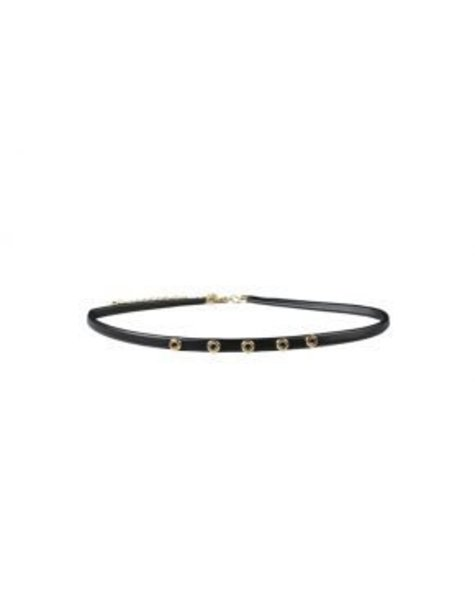 LEATHER MULTIPLE BLACK GOLDEN CIRCLE CHOKER