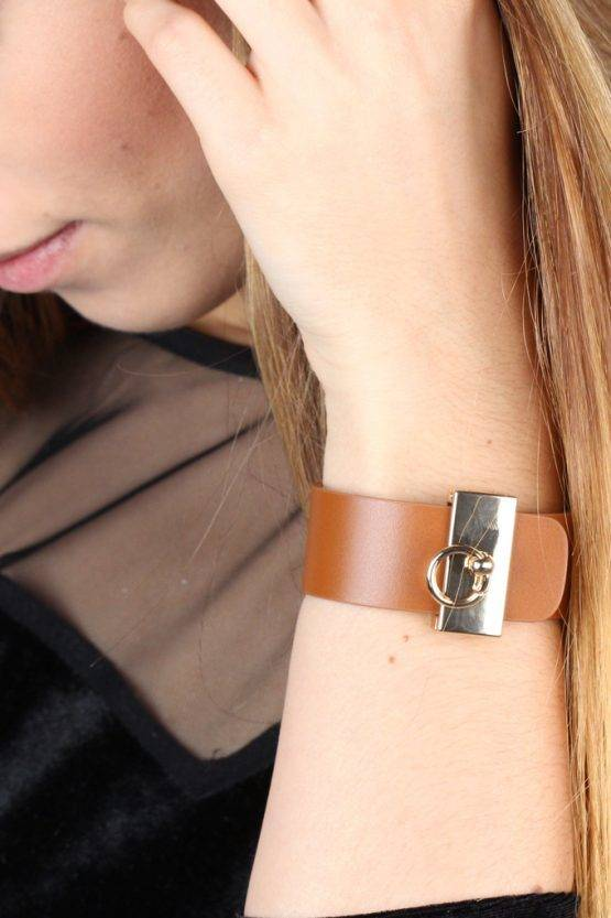 BOLD BROWN FAUX LEATHER BRACELET