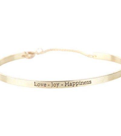 LOVE JOY HAPPINESS BRACELET GOLD
