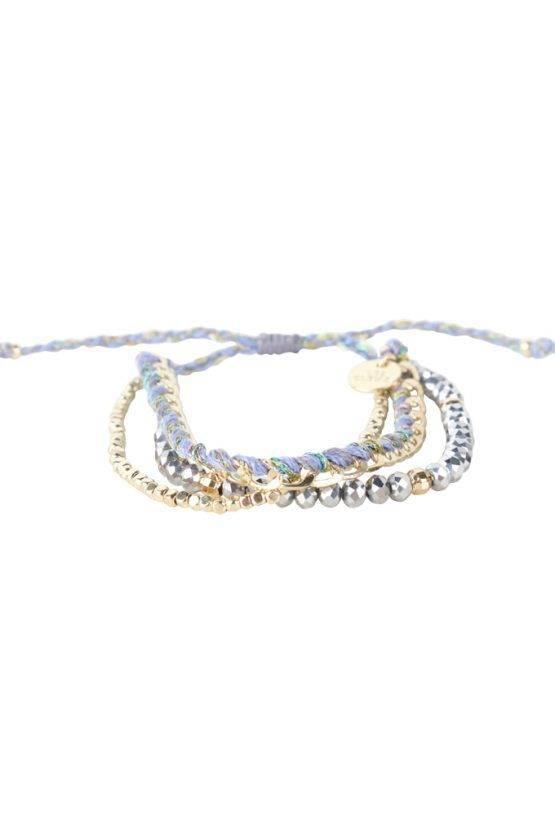 COLOR PEARL BRACELET LIGHT BLUE GOLD