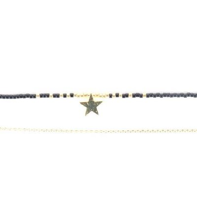 BLACK PEARL GOLD STAR NECKLACE
