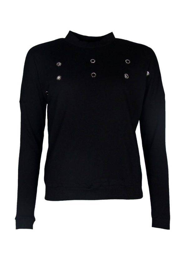 CIRCLE DETAIL BLACK SWEATER