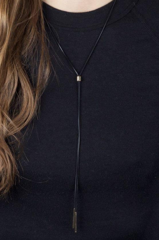 FINE BLACK STRINGED METAL NECKLACE BLACK GOLD