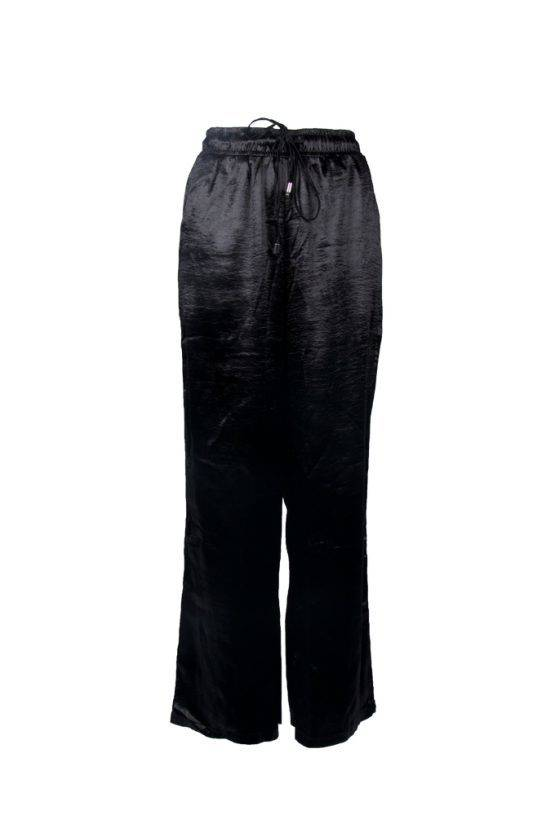 BLACK SATIN WIDE LEG TROUSERS