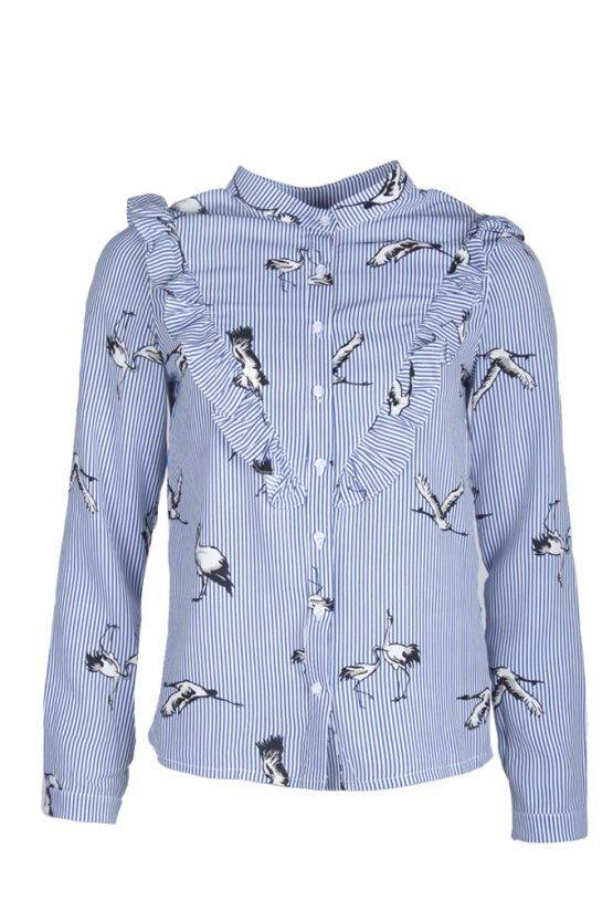 BIRDY RUFFLED BLUE BLOUSE