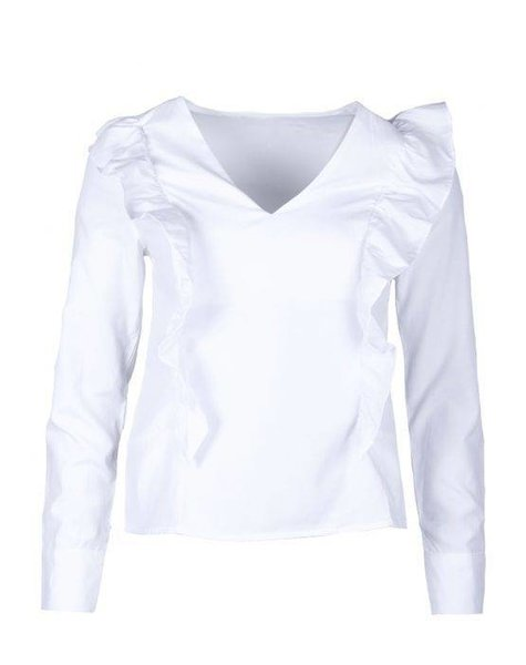 WHITE CLASSIC BLOUSE WITH RUFFLES