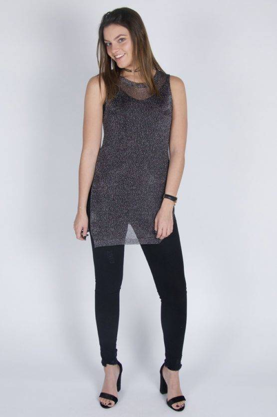 SHINY GREY GLITTER NET TUNIC